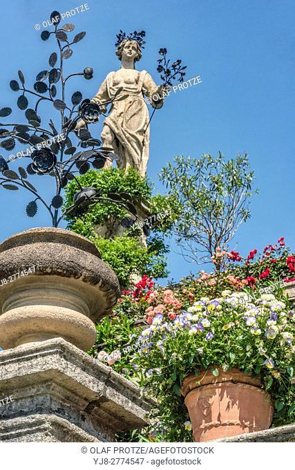 Ancient Sculptures at the garden of Palazzo Borromeo at Isola Bella, Lago Maggiore, Piemont, Italy