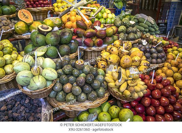 fruits stall at the market hall Mercado dos Lavradores, Funchal, Madeira, Portugal, Europe