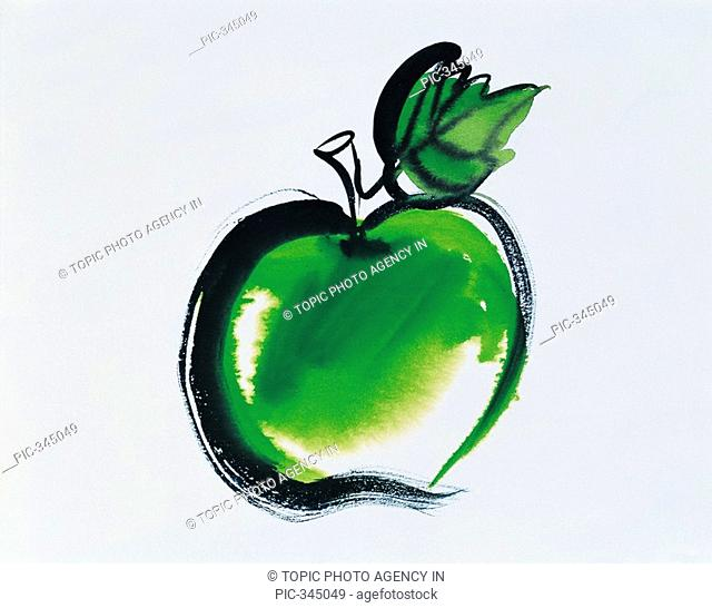 Illustration, Green Apple