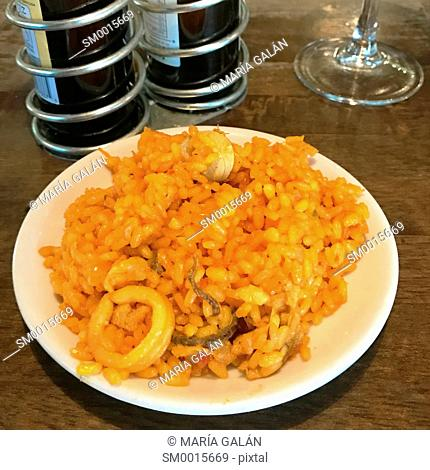 Paella serving as a tapa. Spain