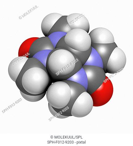 Mebicar anxiolytic drug molecule. Atoms are represented as spheres and are colour coded: hydrogen (white), carbon (grey), oxygen (red), nitrogen (blue)