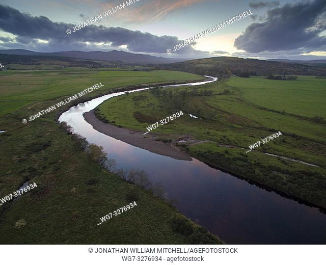 BONAR BRIDGE, SUTHERLAND, SCOTLAND, UK - Nov 2018 - Aerial drone image of the River Carron at the Kyle of Sutherland at Bonar Bridge Sutherland Scotland UK -...