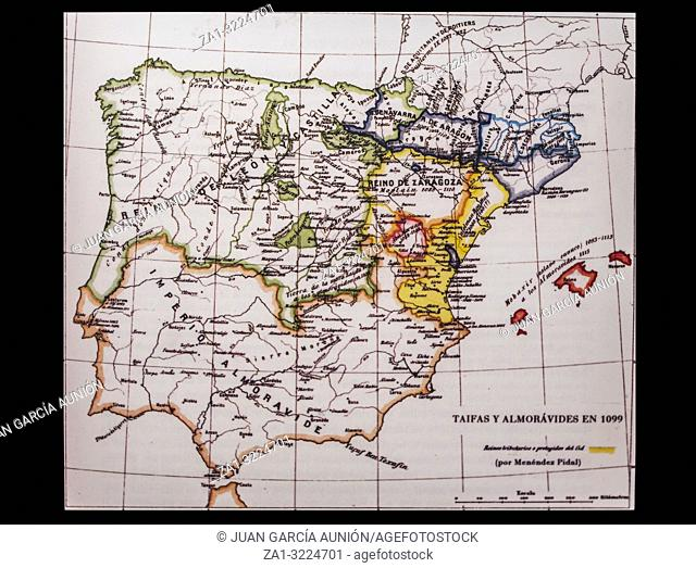 Badajoz, Spain - Dic 19th, 2018: Iberian Peninsula 1099 map by Menendez Pidal. Taifas Kingdoms and Almoravids. Reproduction at Luis de Morales Museum, Badajoz