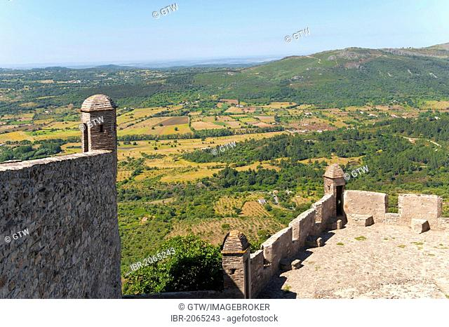 Marvao castle, watchtower and view from the ramparts over the Sierra, Alentejo, Portugal, Europe