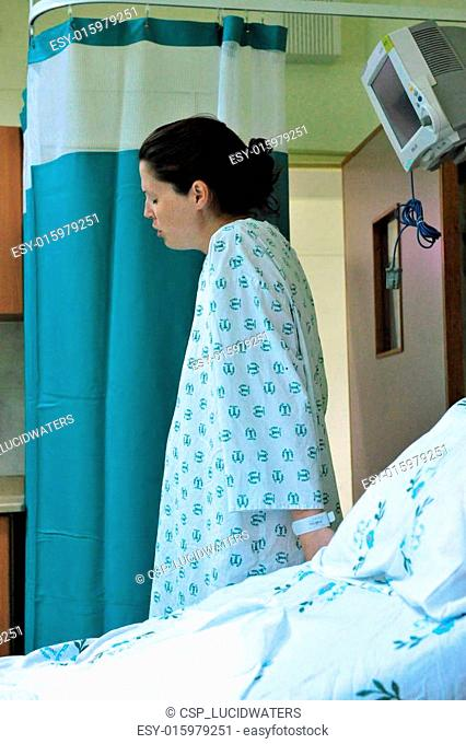 Pregnant woman in labor delivery room