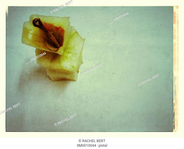 Remains of an apple, still life