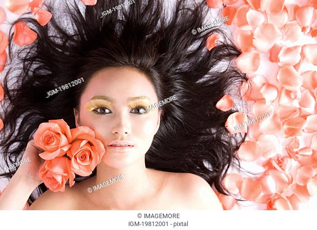 A beautiful woman in flower marine