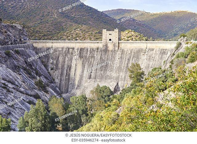 Reservoir dam Jandula in the natural park of Andujar, Jaen. Spain