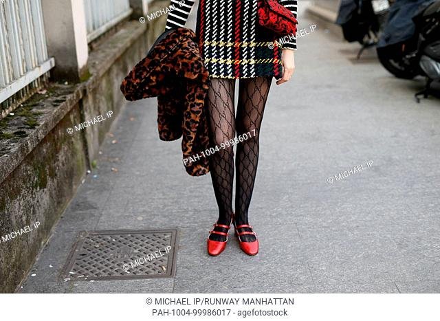 Stylist Chloe Hill attending the Arthur Arbesser show during Milan Fashion Week - Feb 21, 2018 - Photo: Runway Manhattan/Michael Ip ***For Editorial Use Only***...