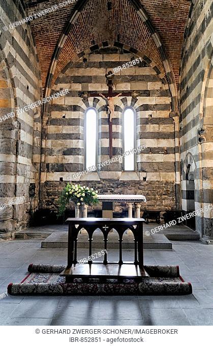 Interior of the chapel in the Fortress of Portofino, Liguria, Cinque Terre, Italy, Europe
