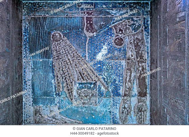 Dendera Egypt, ptolemaic temple dedicated to the goddess Hathor. Carvings on internal wall.The goddess Nut