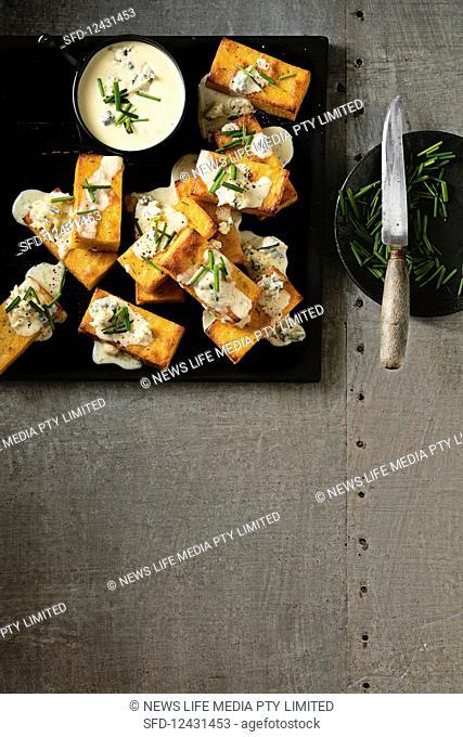 Crispy Polenta with Blkue Cheese Sauce