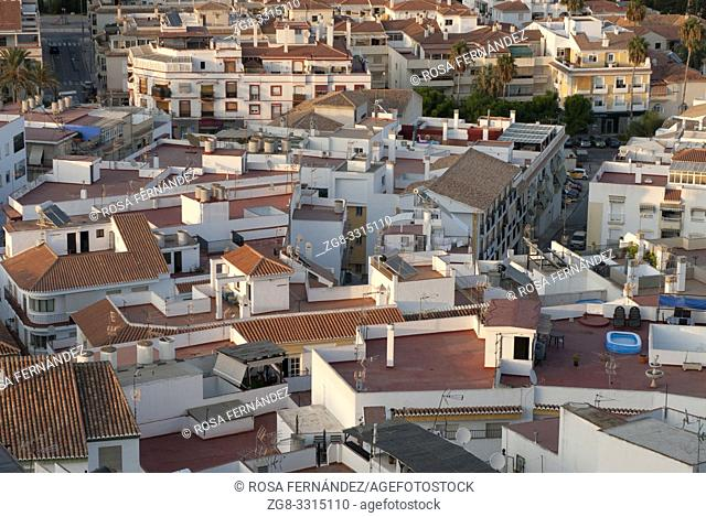 View of the village of Salobreña, province of Granada, Andalucia, Spain