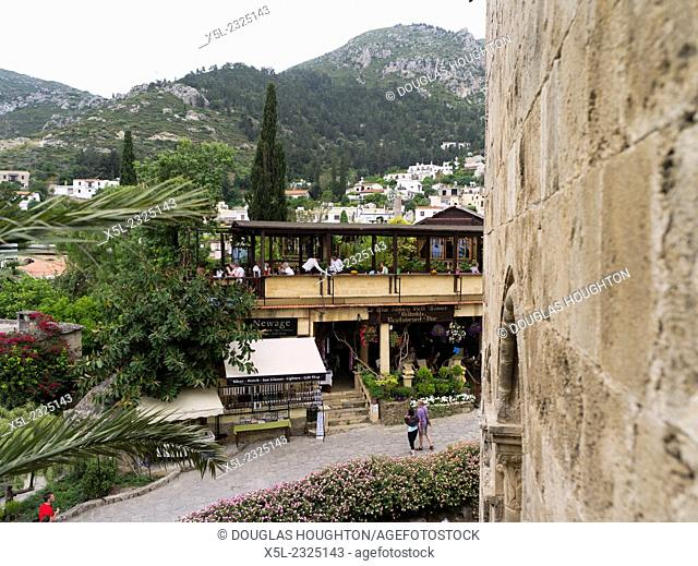 Abbey of Bellapais KYRENIA NORTHERN CYPRUS Tourists walking