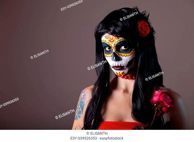 Halloween sugar skull girl with red rose, Day of the Dead theme