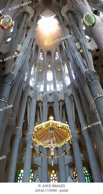 Nave ceiling of Gaudi's Sagrada Familia a UNESCO World Heritage site, Barcelona, Catalonia, Spain, Europe