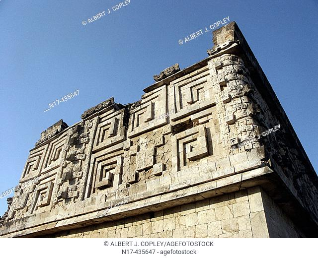 The Governor's Palace in Uxmal, Pre-Columbian ruined city of the Maya civilization (late Classic period 600 - 900 A.D.). Yucatan, Mexico