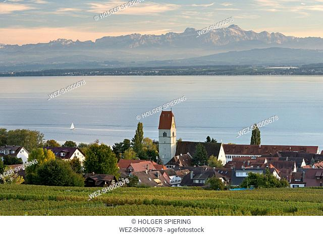 Germany, Baden Wuerttemberg, View of vineyard with church at Lake Constance