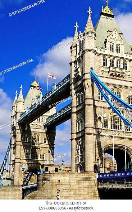 Two towers of Tower bridge in London England