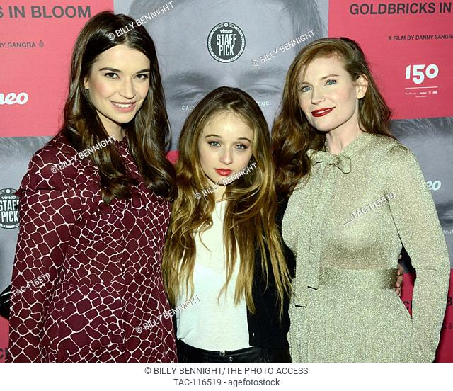 """Margaret Clunie, Carson Meyer and Kat Clements arrives at the """"""""Goldbricks in Bloom"""""""" Los Angeles Premiere at Arena Cinelounge in Los Angeles"""