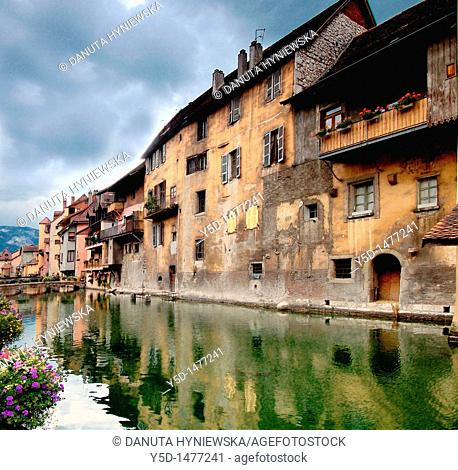 Annecy, called 'Little Venice', beautiful, romantic town in France, old buildings and canals create a special charm