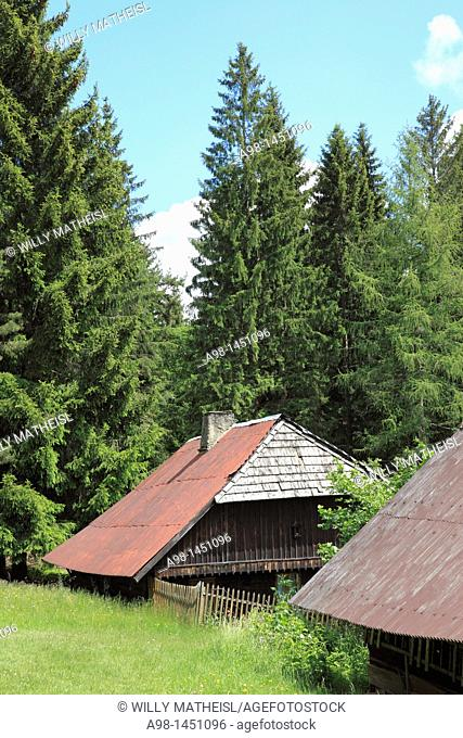 traditional old farmhouses at the village Srni, German: Rehberg, Bohemian Forest, National Park Sumava, Czech Republic, Europe