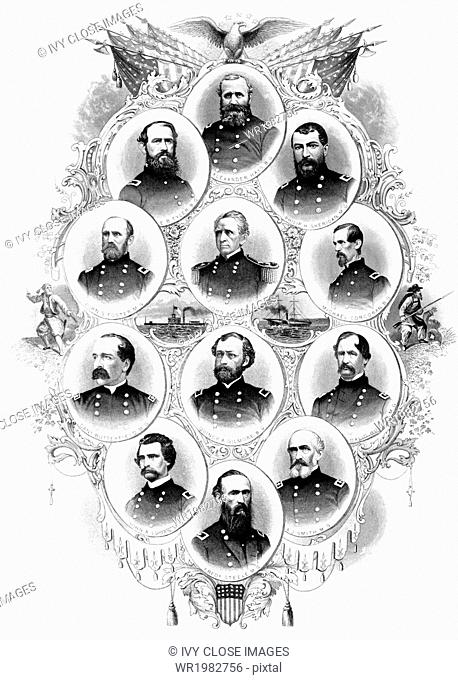 The Union generals pictured in this 1866 engraving are, from left to right, top to bottom: Alexander Hayes, E.B. Tyler, Philip H. Sheridan, John G