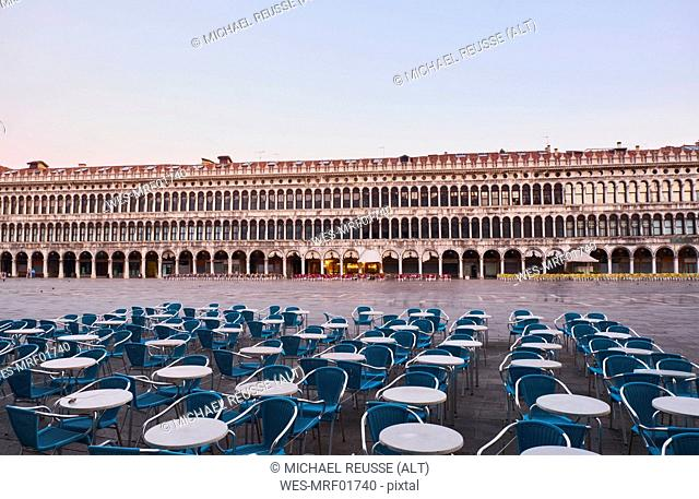 Italy, Venice, Empty St Mark's Square in the early morning