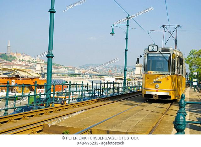 Tram 2 travels along Danube riverside in central Budapest Hungary Europe