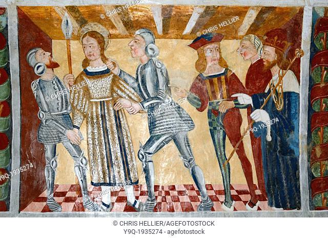Fresco of Arrest of Saint Sebastian by Roman Soldiers (1513) Chapel of Saint Sebastian Roubion Tinée Valley Alpes-Maritimes France