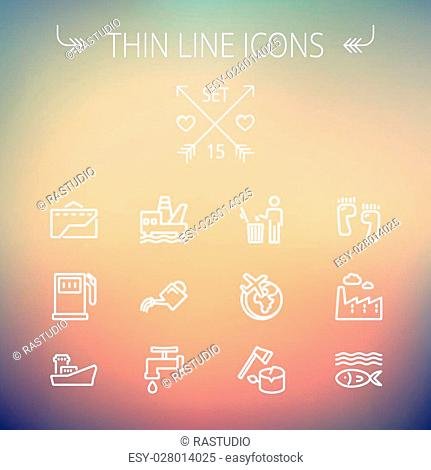 Ecology thin line icon set for web and mobile. Set includes-gasoline pump, fish, ship, garbage bin,watering can, faucet, global icons