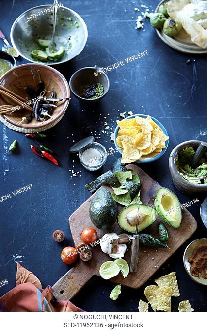 An arrangement of Mexican ingredients