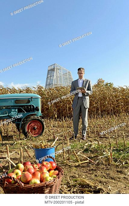 Businessman with digital tablet in cornfield, geothermal power station in background, Bavaria, Germany