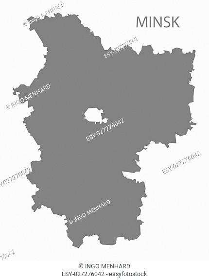 Minsk Belarus Map in grey