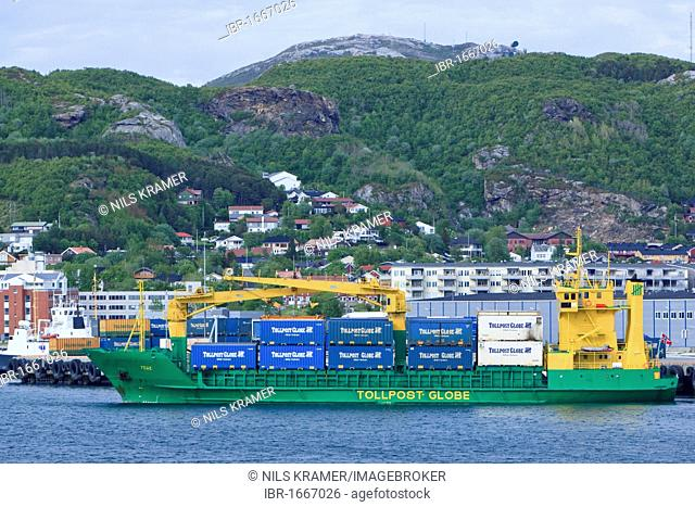 Container ship, Tege, in the port of Bodo, Norway, Scandinavia, Europe