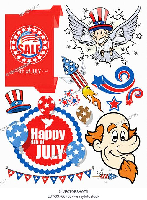 Drawing Art of Cartoon America - Patriotic Festive Celebration Vector set Illustrations