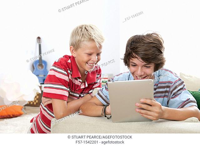 Teenage boys with Tablet