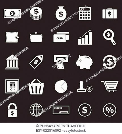 Money icons on black background
