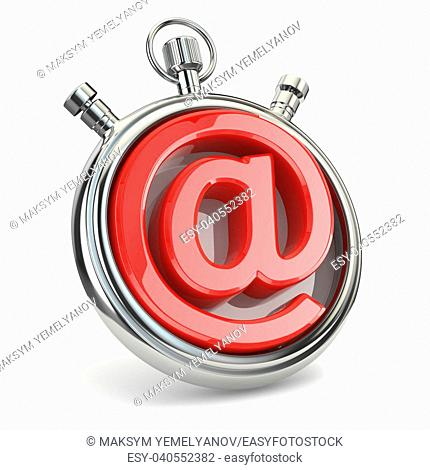 Stopwatch and symbol of e-mail. Online support. 3d