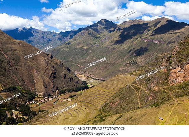 Incan agricultural terraces at the Pisac ruins in the Sacred Valley of the Incas, Peru