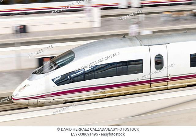 RENFE - AVE High speed train at Zaragoza Delicias station. AVE is a service of high-speed rail in Spain operated by Renfe Operadora
