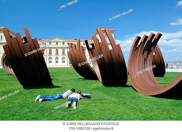 Palais du Pharo & Sculptures by Bernar Venet Marseille