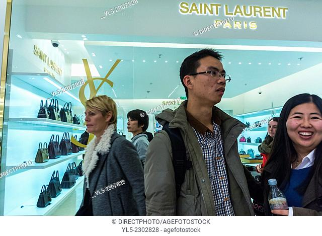 Paris, France, Chinese Tourists Shopping inside French Department Store, Galeries Lafayettes, Saint Laurent Shop