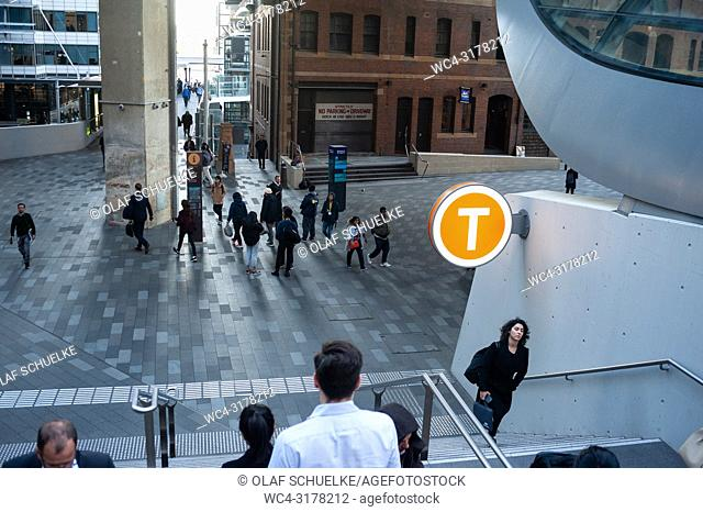 Sydney, New South Wales, Australia - People are seen walking along a pedestrian zone in the business district in Barangaroo South which is part of The Wynyard...