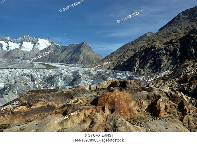 Switzerland, Europe, Wallis, Alps, Riederalp, Landscape, Mountain, autumn, clouds, Aletschgletscher, glacier, rock