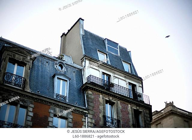 Old Building Facades in Autumn, in Montmartre District, Paris, France