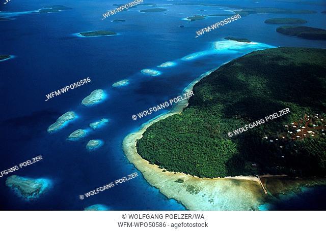 aerial photograph of tropical islands, Tonga, Polynesia