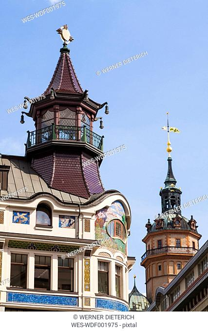 Germany, Saxony, Leipzig, Riquet house and Nikolaikirche