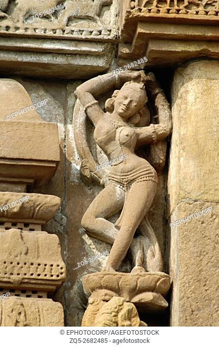 Orissa Bhubaneshwar - Brahmesvara Temple 11th century A. D, Female figure in tribhanga pose on the southern wall