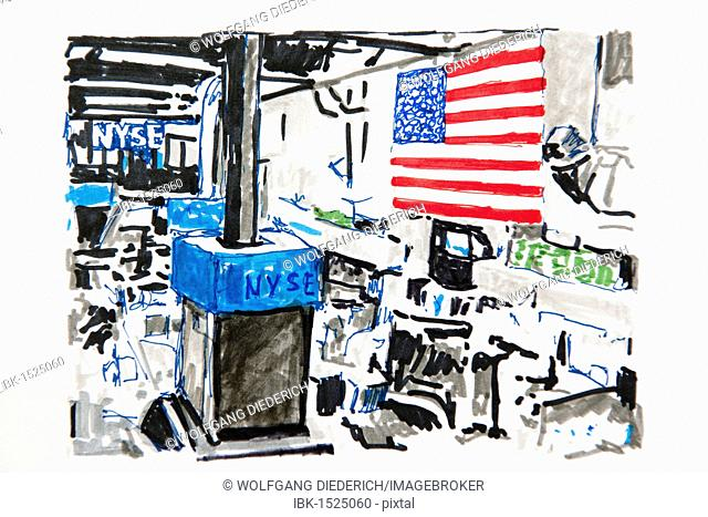 New York, NYSE, New York Stock Exchange, drawing, artist Gerhard Kraus, Kriftel, Germany